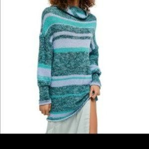 Free People Candy Striped Waterfalls Sweater NWT